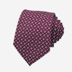 Cà vạt Hàn Quốc lụa tím hồng thêu họa tiết hoa chữ thập
