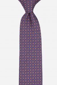 Cà vạt tím nhạt họa tiết móc xích xanh