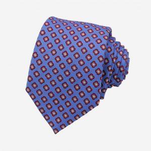 Cà vạt Hàn Quốc xanh dương nhạt họa tiết hoa đỏ mận