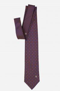Cà vạt Hàn Quốc lụa xanh than móc xích vàng cam đính đá quý phái