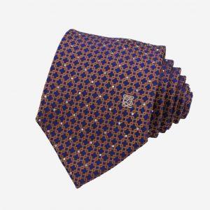 Cà vạt Hàn Quốc lụa xanh than móc xích vàng cam đính đá