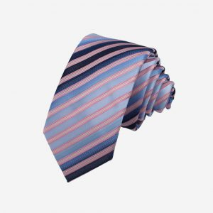 Cà vạt xanh da trời vệt kẻ đen kẻ màu da viền hồng