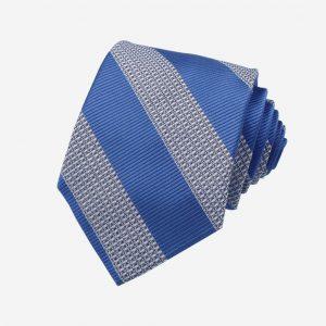 Cà vạt lụa Việt Nam xanh dương nhạt kẻ chéo