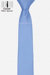 Cà vạt xanh da trời bản nhỏ cao cấp gân tăm 6cm