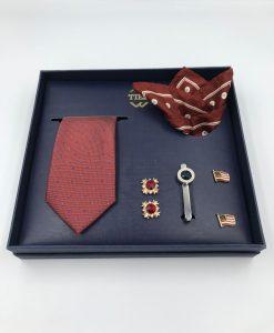 Set cà vạt đỏ mận chấm bi xanh da trời, xanh than