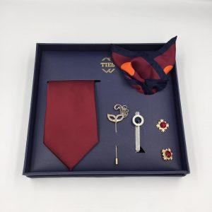 Set cà vạt đỏ mận trơn mịn