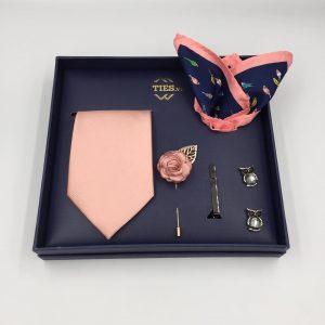 Set cà vạt màu hồng nhạt paster trơn mịn