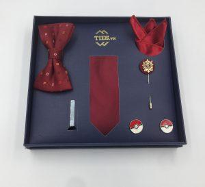 Set cà vạt màu đỏ mận trơn gân tăm