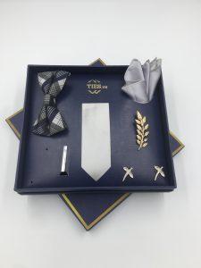 Set cà vạt màu ghi bạc trơn gân tăm