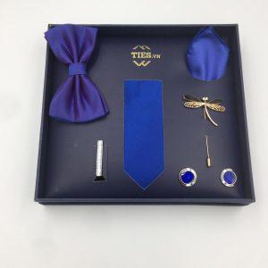 Set cà vạt màu xanh dương trơn gân tăm