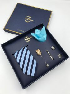 Set cà vạt xanh da trời kẻ xanh than