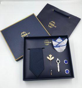 Set cà vạt xanh than chấm kẻ ô vuông chìm