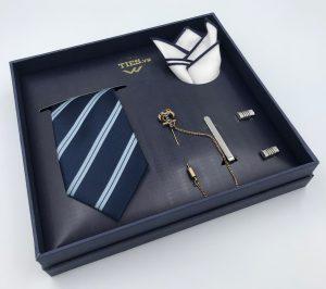 Set cà vạt màu xanh than kẻ 2 sọc xanh bạc