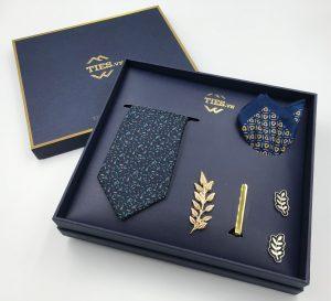Set cà vạt xanh than họa tiết hoa văn nhỏ xám