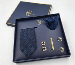 Set cà vạt xanh than chấm bi trắng ô vuông chìm