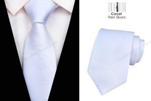 Cà vạt màu trắng mịn bản to 8cm
