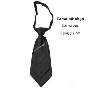 Cà vạt nữ đen bóng trơn thắt sẵn
