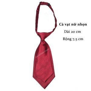 Cà vạt nữ đỏ mận trơn bóng thắt sẵn