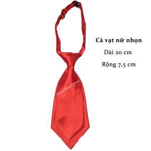Cà vạt nữ đỏ tươi trơn bóng thắt sẵn