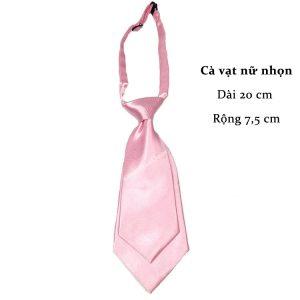 Cà vạt nữ hồng nhạt trơn bóng thắt sẵn
