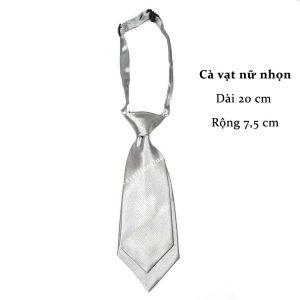 Cà vạt nữ màu bạc trơn bóng thắt sẵn