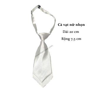 Cà vạt nữ màu trắng trơn bóng thắt sẵn