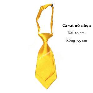Cà vạt nữ vàng bóng trơn thắt sẵn