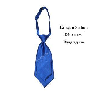 Cà vạt nữ xanh dương trơn bóng thắt sẵn