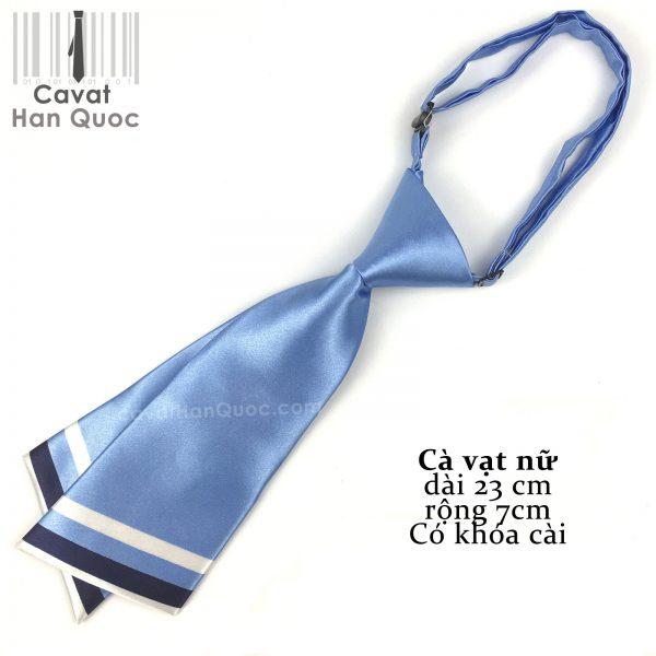 cà vạt nữ xanh sáng chéo