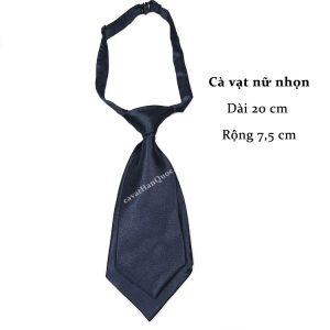 Cà vạt nữ xanh than bóng trơn thắt sẵn