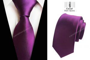 Cà vạt màu tím nhạt mịn bản to 8cm