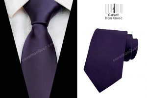 Cà vạt màu tím đậm mịn bản to 8cm