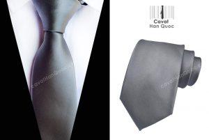 Cà vạt xám đậm bản to 8cm