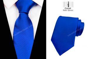 Cà vạt xanh dương mịn bản to 8cm