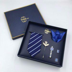 Set cà vạt xanh dương kẻ trắng xanh