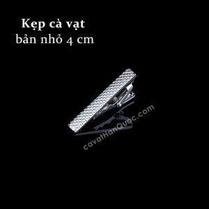 Kẹp cà vạt bạc hình thoi nổi bản 4cm