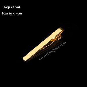 Kẹp cà vạt vàng đồng trơn bản 6cm