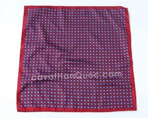 Khăn cài túi áo vest màu đỏ họa tiết hoa nhí