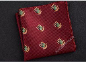 Khăn cài túi áo vest màu đỏ mận thêu logo