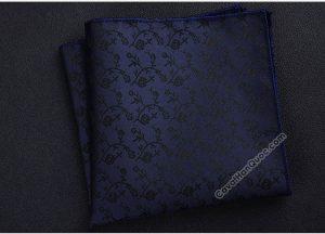Khăn cài túi áo vest màu xanh than họa tiết hoa văn đen