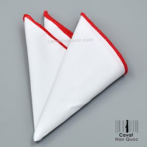 Khăn cài túi áo vest màu trắng viền đỏ tươi