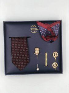 Set cà vạt đen thêu hình chữ H đỏ