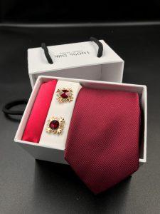 Set hộp trắng cà vạt gân tăm màu đỏ tươi