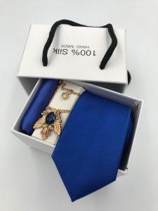 Set hộp trắng cà vạt gân tăm màu xanh dương