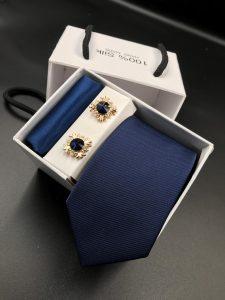 Set hộp trắng cà vạt gân tăm màu xanh than