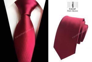 Cà vạt đỏ mận mịn bản to 8cm