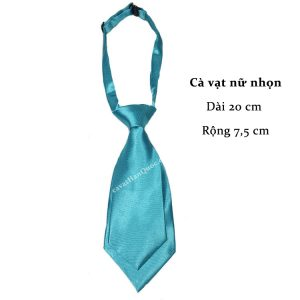 Cà vạt nữ xanh da trời sáng trơn bóng thắt sẵn