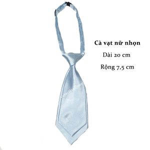 Cà vạt nữ xanh dương nhạt da trơn bóng thắt sẵn