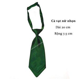 cà vạt nữ xanh lá đậm trơn bóng thắt sẵn