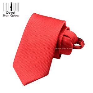 Cà vạt thắt sẵn khóa kéo màu đỏ